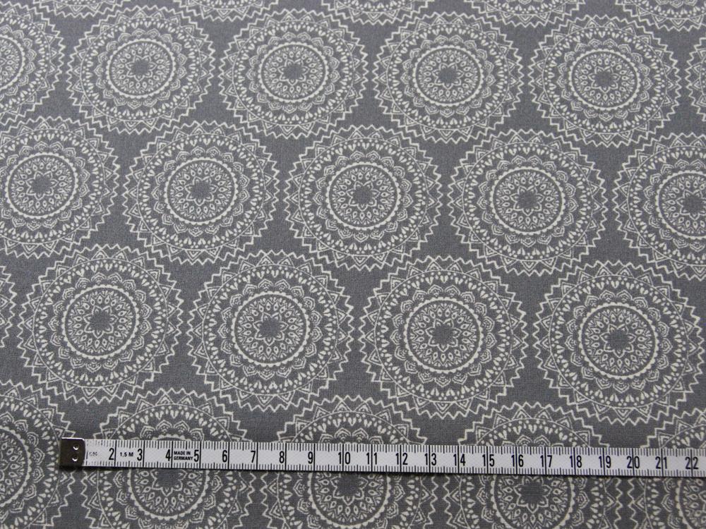 Beschichtete Baumwolle - Ornamente Grau/Weiß 50x65 cm - 2