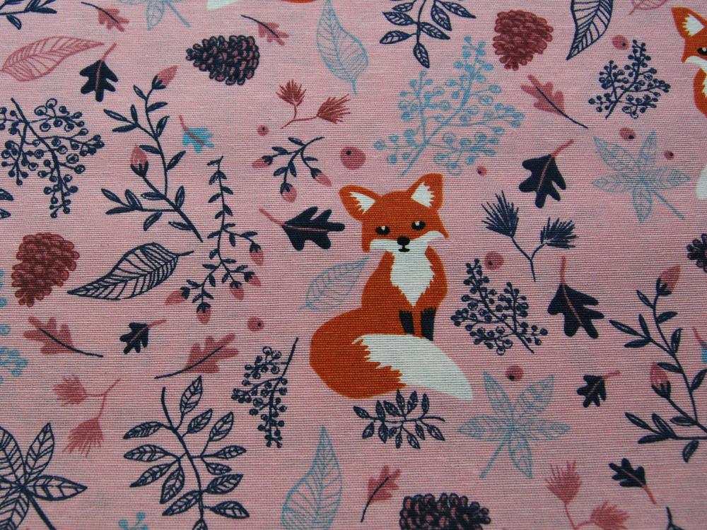Dekostoff - Füchse auf Rosa -