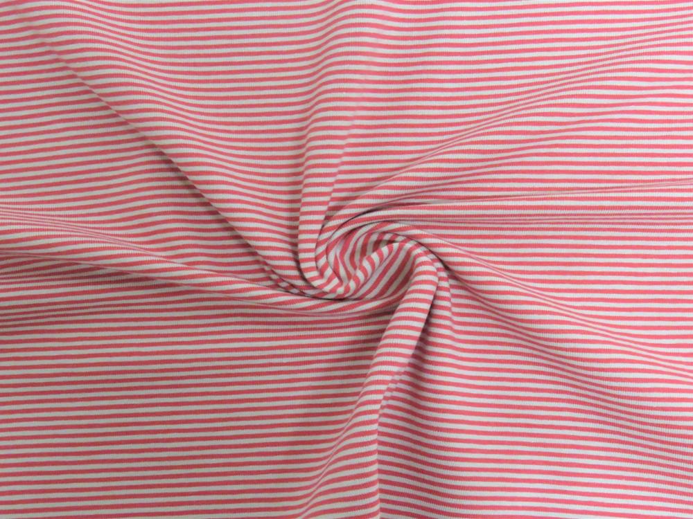 Jersey - Streifen Rot-Sand - 0.5 Meter