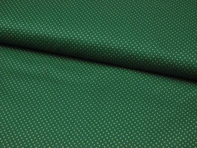 Waldgrüne Baumwolle mit goldene Minipunkte 0,5 Meter