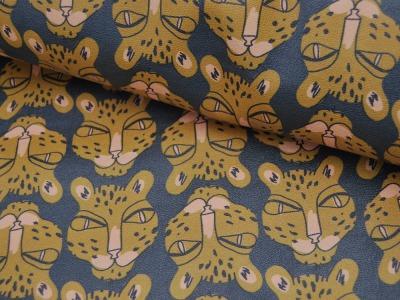 Kunstleder mit Leopardenköpfe cm und kein