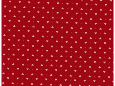 Beschichtete Baumwolle - Herzen auf Rot 50 x72 cm