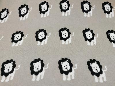 Strick - Jacquard Jersey - Löwen auf Beige 0,5 Meter - Toller Jacquard Jersey aus 100 Baumwolle