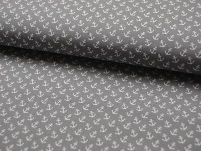 Baumwolle - Anker auf Grau 0,5m