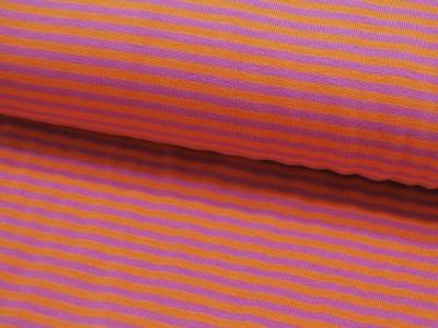 Jersey - Streifen in Orange-Flieder -