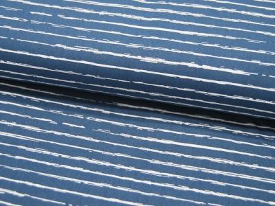 Baumwolle - Weiße Streifen auf Jeansblau