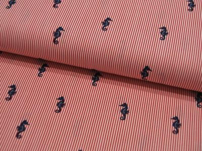 Baumwolle Sea Horses Seepferdchen auf Rot-Weiß