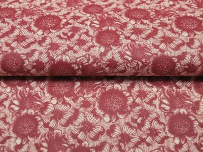 Beschichtete Baumwolle - Blumenmuster auf Rot 50x65 cm