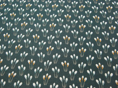 Beschichtete Baumwolle - Blüten auf Petrol 50 x75 cm