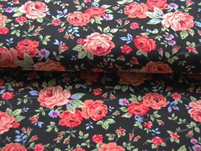 Jersey - Blumenmuster auf Schwarz - 0,5 Meter