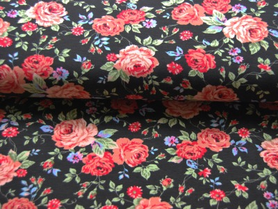 Jersey - Blumenmuster auf Schwarz -