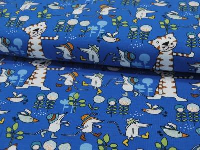 Jersey Mäuse und Katzen auf Blau