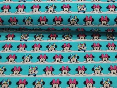 Baumwolle Minnie Mouse auf Türkis 05m