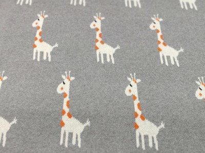 Strick - Jacquard Jersey -Giraffen auf Grau 0 5 Meter - Toller Jacquard Jersey aus 100 Baumwolle