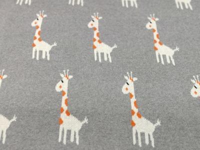 Strick - Jacquard Jersey -Giraffen auf Grau 0,5 Meter - Toller Jacquard Jersey aus 100 Baumwolle