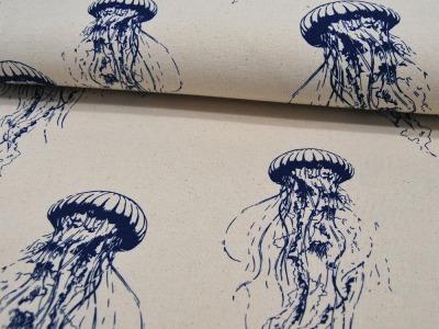 Dekostoff Jellyfish- Qualle in Blau auf