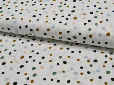 Baumwolle - Wilde Punkte auf Weiß