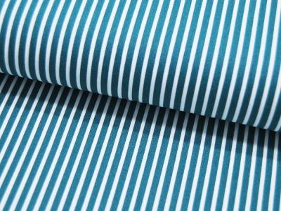 Baumwolle - Stripe - Petrol-Weiss gestreift