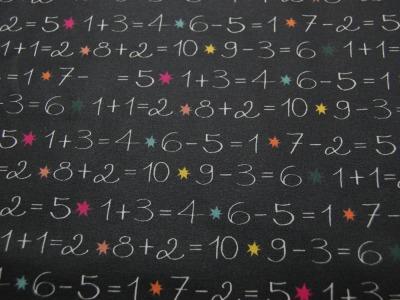 Beschichtete Baumwolle -Tafel - Zahlen auf Schwarz 50 x75 cm
