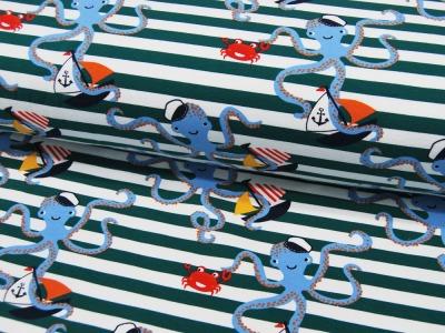 French Terry Maritimer Oktopus auf Streifen