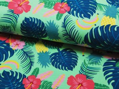 Jersey Blätter Blumen Bananen Ananas auf