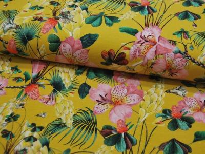 Jersey DIGITAL Flowers Blumen auf Ocker