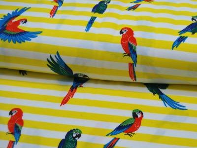 Jersey Papageien auf Gelb-Weiß mit Glitter