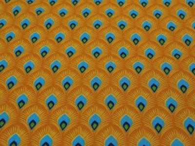 Beschichtete Baumwolle - Pfauenfedern klein -