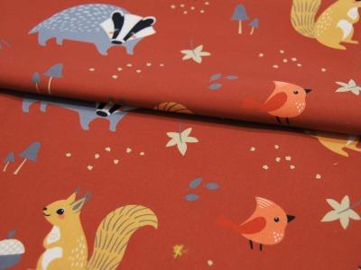 REST Softshell Finn Waldtiere auf Terracotta