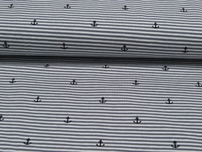 Jersey - Grau-Weiß mit Ankern -