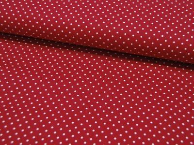 Small Dots Minipunkte auf Dunkelrot Baumwolle