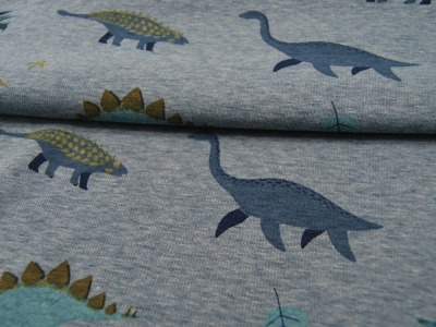 Happy Fleece Dinos auf Dusty Blue