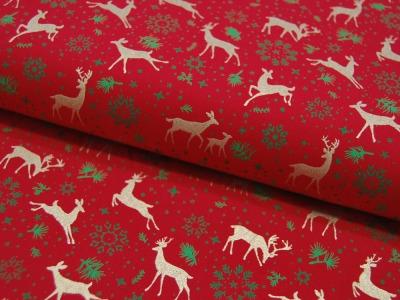 Baumwolle Popeline Weihnachten Rehe in Gold