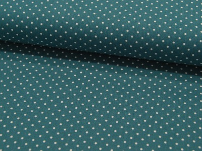 Petit Dots auf Petrol - Baumwolle