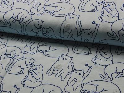Jersey - Katzen mit Glitzer auf Hellblau - 0,5 Meter