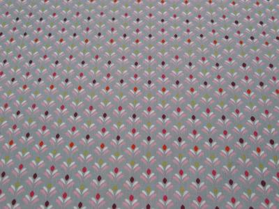 Beschichtete Baumwolle Blütenmuster auf Grau 50x74