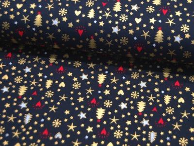 Baumwolle Popeline Weihnachtliche Motive in Gold