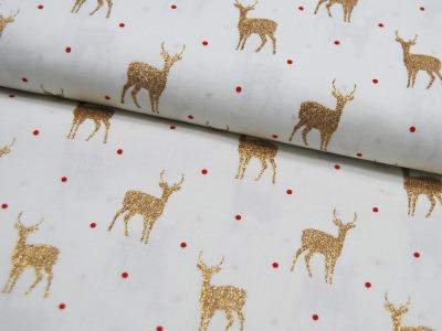 Baumwolle Goldene Hirsche auf Weiß 05m