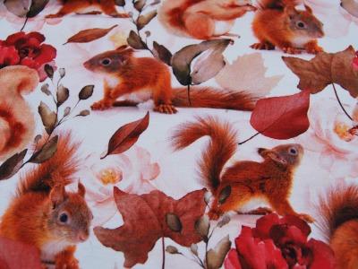 Beschichtete Baumwolle - Blumenmuster in Blautöne - 50 x 75 cm