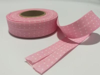Schrägband in Rosa mit weißen Mini-Punkten