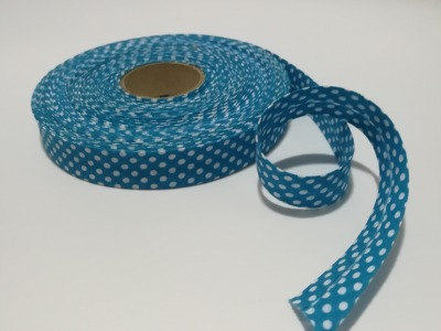 Schrägband Meter in Türkisblau mit weißen