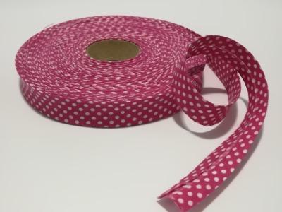 Schrägband Meter in Pink mit weißen