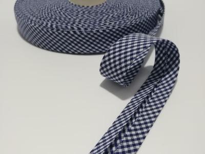Schrägband Meter dunkelblau-weiß kariert cm breites