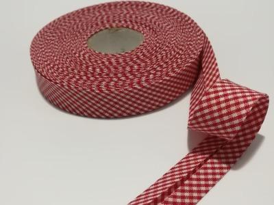 Schrägband Meter rot-weiß kariert cm breites