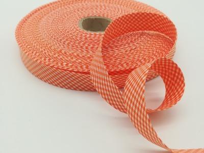 Schrägband Meter orange-weiß kariert cm breites