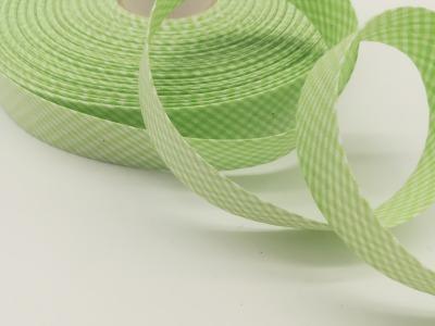Schrägband Meter hellgrün-weiß kariert cm breites