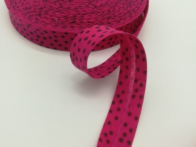 Schrägband in Pink mit schwarzen Ministernen