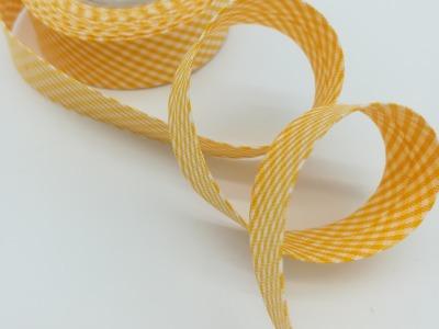 Schrägband Meter gelb-weiß kariert cm breites