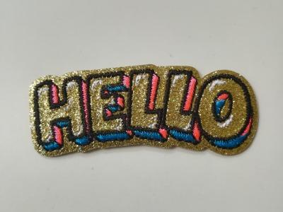 Aufbügler glitzerndes HELLO - gold