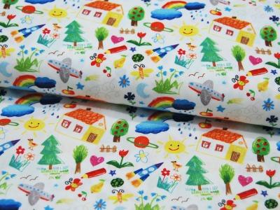 Baumwolle Kim Kinderzeichnungen auf Weiß 05m